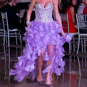 Sherri Hill, Corset Crystal Encrusted Tull Dress